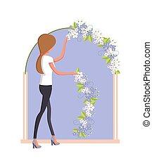 Organization of Wedding Woman Vector Illustration