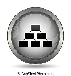Organizational chart icon, black website button on white...