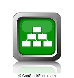 Organizational chart icon. Internet button on black...