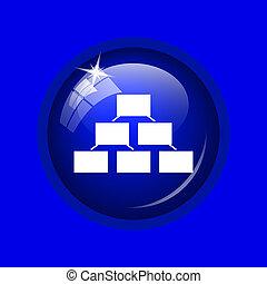 Organizational chart icon. Internet button on blue...