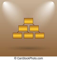 Organizational chart icon. Internet button on brown...