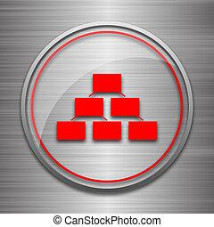Organizational chart icon. Internet button on metallic...