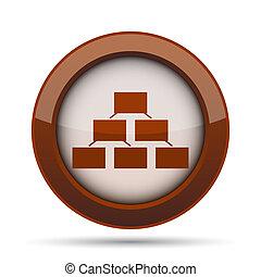 Organizational chart icon. Internet button on white...