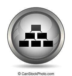 Organizational chart icon, black website button on white...