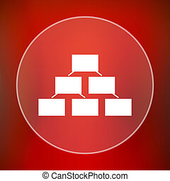 Organizational chart icon. Internet button on red...
