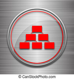 Organizational chart icon. Internet button on metallic...