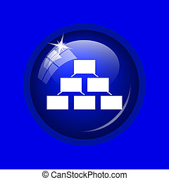 Organizational chart icon. Internet button on blue...
