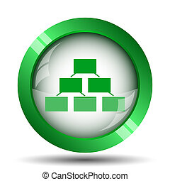 Organizational chart icon. Internet button on white...