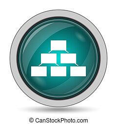 Organizational chart icon, website button on white...