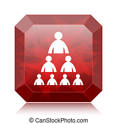 Organizational chart with people icon, red website button on...