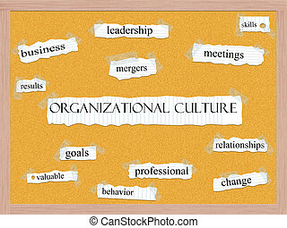 Organizational Culture Corkboard Word Concept with great terms such as leadership, skills, mergers and more.