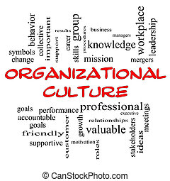 Organizational Culture Word Cloud Concept in red caps with...