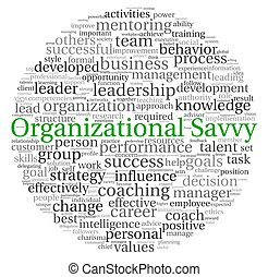 Organizational Savvy concept in word tag cloud