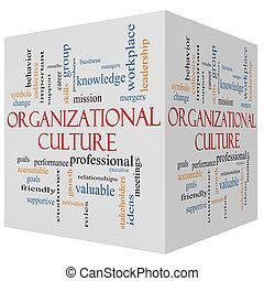 organizativo, cultura, 3d, cubo, palabra, nube, concepto