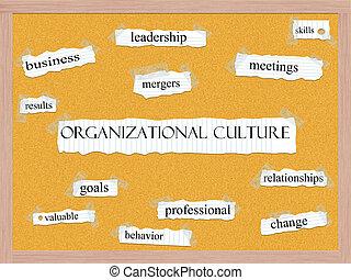 organizativo, cultura, corkboard, palabra, concepto