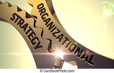organizativo, estrategia, en, dorado, metálico, gears.