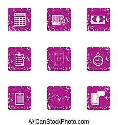 Organize document icons set, grunge style