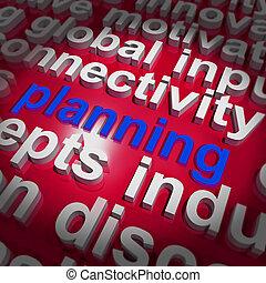 organize, palavra, objetivos, planificação, plano, nuvem, mostra