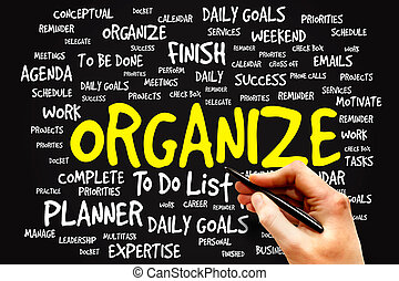 ORGANIZE word cloud, business concept