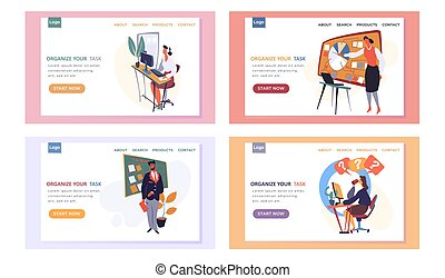 Organize your task landing page template with a woman who is engaged in business planning