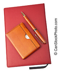 organizer and pen isolated