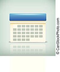organizer - illustrtation of paper calendar with blue part...