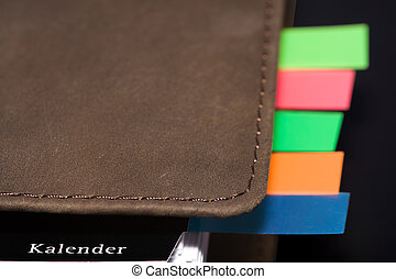 Organizer with coloured notes