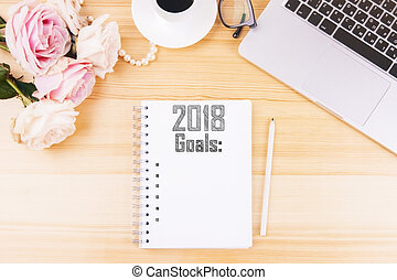 Organizer with 2018 goals list - Top view of organizer with...