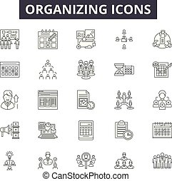 Organizing line icons, signs, vector set, linear concept, outline illustration