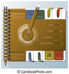 organizzare, affari, quaderno, infographic, disegno, sagoma
