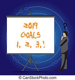 organizzare, inizi, affari, plans., foto, esposizione, scrittura, 1, concettuale, futuro, 2019, mete, showcasing, 2, mano, risoluzione, 3.