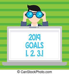 organizzare, inizi, affari, plans., foto, esposizione, scrittura, 1, futuro, 2019, mete, testo, concettuale, 2, mano, risoluzione, 3.
