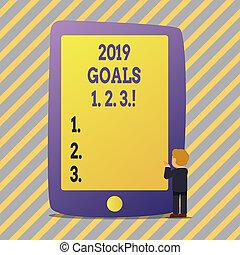 organizzare, inizi, plans., testo, esposizione, segno, 1, 2, 2019, mete, foto, concettuale, futuro, risoluzione, 3.
