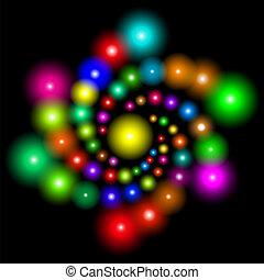organizzato, cosmico, spirale, luminoso, fondo, bagliori