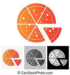 organizzato, fette, -, vettore, beautifully, icona, pizza