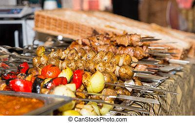 organizzato, verdura,  neatly, metallo, Basi, cotto, carni, generosità