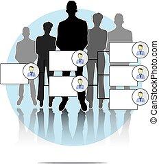 organogram, グループ, イラストビジネス, 人々