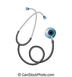 organs., medico, interno, stetoscopio, sistema per l'ascolto, supplies.