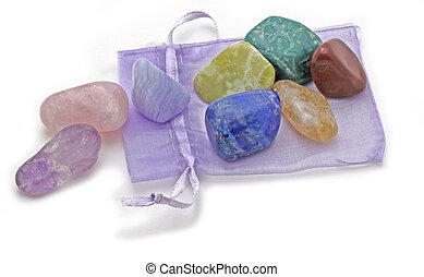 Organza Pouch with Chakra Crystal Set