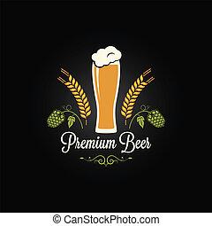 orge, menu, bière, conception, verre, houblon