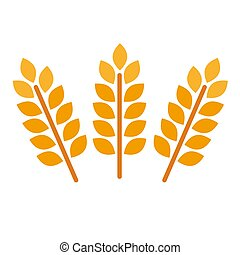 orge, vecteur, bière, doré, nourriture., seigle, grains, ears., agricole, éléments, motifs, ou, héraldique, formes, barley., riz, blé, logo, isolé, organique, illustration