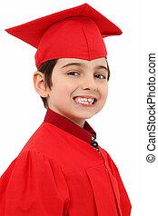 orgoglioso, asilo, laureato, bambino