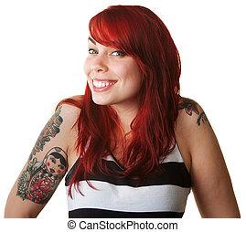 orgoglioso, giovane, con, tatuaggi