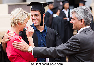 orgoglioso, madre, a, lei, son's, graduazione