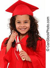 orgoglioso, prescolastico, ragazza, laureato, bambino