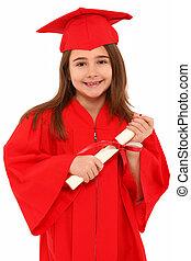 orgoglioso, ragazza scuola, laureato, bambino