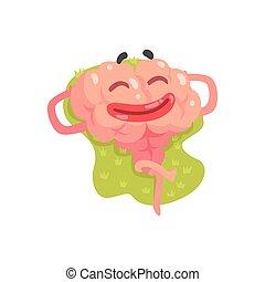 orgue, bains de soleil, caractère, illustratio, cerveau, vecteur, humain, dessin animé, humanized, intellect, mensonge, heureux
