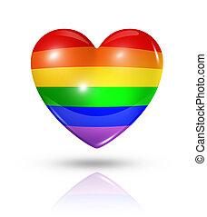 orgulho alegre, amor, símbolo, coração, bandeira, ícone