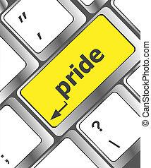 Orgulho, computador, palavra, tecla, teclado