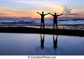 orgulho, flag., homens, segurando, homossexual